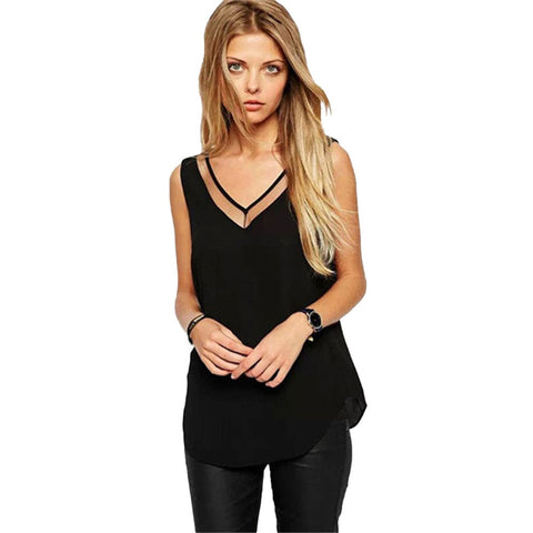 blouses Vest Summer Womens Solid Color Sleeveless Chiffon Blouse Shirts blusas feminino B0220