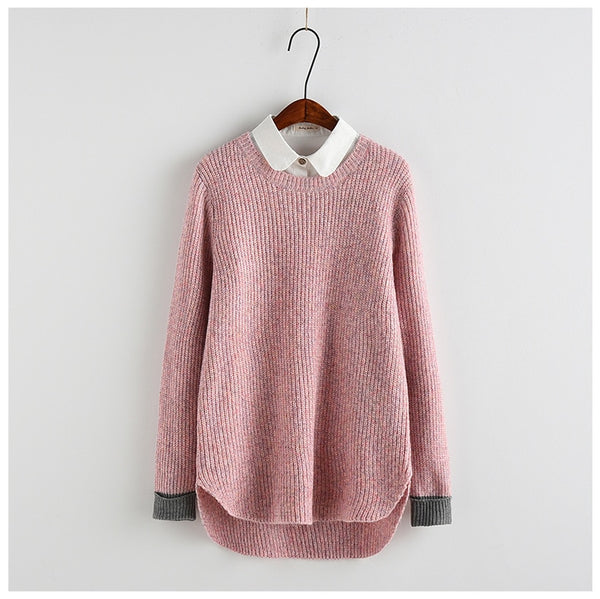 Mix Color Patchwork Sweater Women Casual Loose Autumn Pullover Oversized Knit Jumper LMM06
