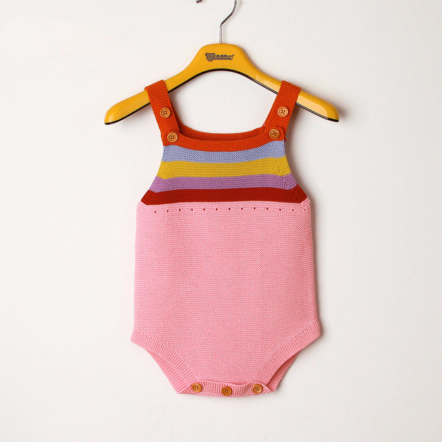 d52bdf1b9981f Newborn Baby Romper Boys Girls Baby Clothes Rainbow Woolen Knitted Baby  Rompers Summer Infant Baby Boys Jumpsuit Overalls
