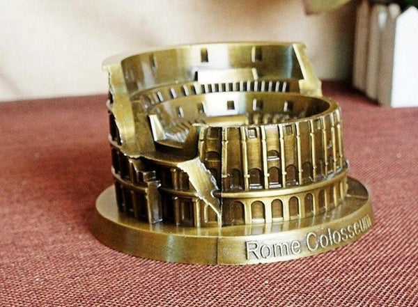 classic vintage retro famous Rome Colosseum building hand-made craft metal model for home coffee bar ornaments decoration