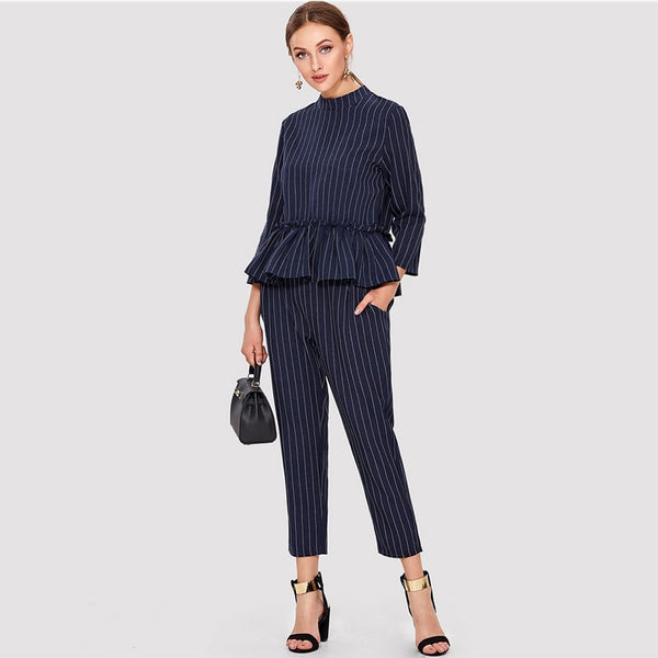 Navy Striped Elegant Top And Pants Office Ladies Ruffle Hem Round Neck Regular Fit Women Summer Fashion Twopiece