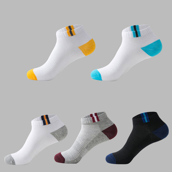 5 Pairs Men Autumn Summer Socks Classic Patchwork Mesh Breathable Cotton Men Short Sock High Quality Deodorant Male Socks Meias