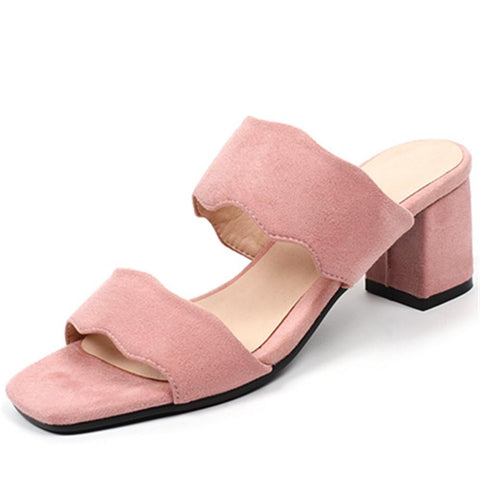 fashion new arrivals summer shoes woman square toe shoes square heels sandals women pink black big size 32-44