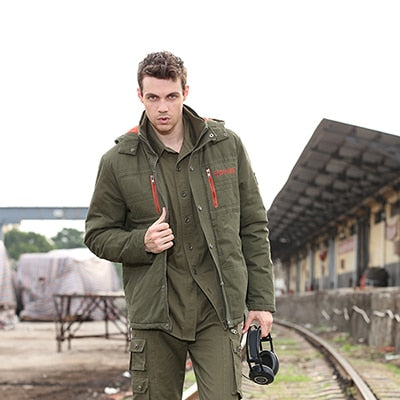 Winter Jacket Men Brand Overcoats Cotton Warm Padded Coats Jackets Military Outerwear With Free Socks Green Hooded Jacket Male