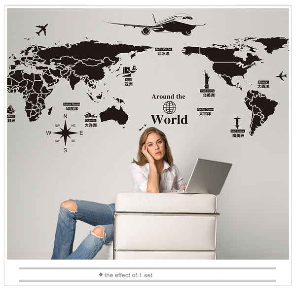 World Map Wall Stickers DIY England Dubai Buildings Wall Art for Living Room Company School Office Decoration