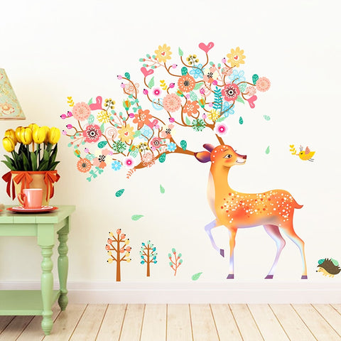 Colorful Deer Trees Wall Sticker PVC Material DIY Flower Animal Wall Art for Kids Rooms Sofa Background Decoration