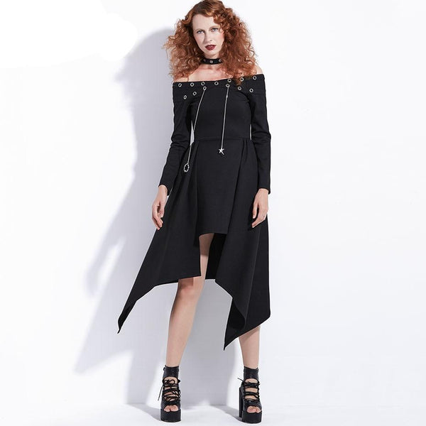 Dress Punk Rock Women Autumn Black Asymmetrical Steampunk Streetwear Fashion Sexy Club Casual Harajuku Goth Dress