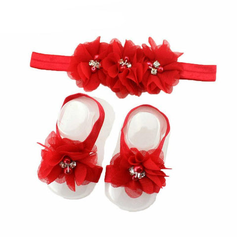 Beautiful Chiffon Flower Headband Baby Girl Flower Foot Head Sandal Set Baby&kids Head Bands Children Hair Accessories
