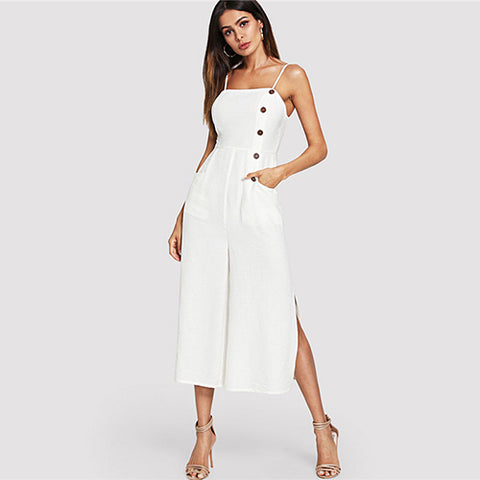0daca1029a59 Beige Spaghetti Strap Sleeveless Elegant Jumpsuit Office Ladies Mid Waist  Button Pocket Wide Leg Women Summer
