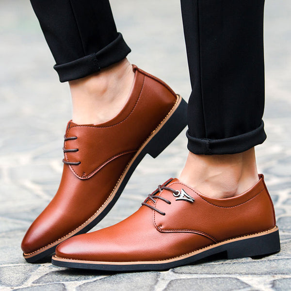 men formal shoes dress leather pointed toe man oxford shoes business with design luxury brand shoe male men's flats 630