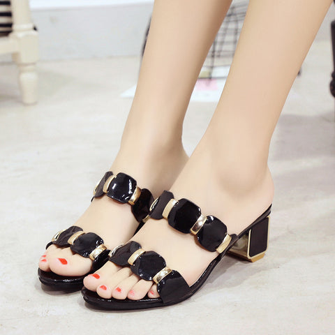 new women square heels gladiator sandals brand design fashion pu leather summer shoes metal party sandals