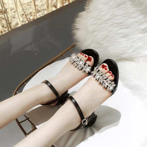 Summer Women Sandals Open Toe Women's Square heel Sandals Thick Heel Women Shoes Gladiator Shoes Size 31-52 B320