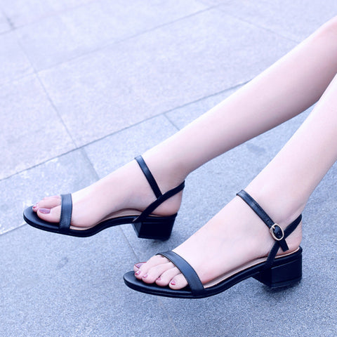 Genuine Leather Square Heels Summer Sandals Woman Fashion ankle-strap women's Shoes