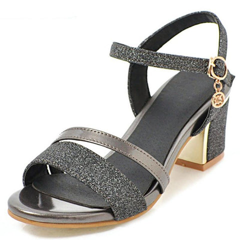 new arrival sequined cloth women sandals fashion party wedding shoes comfortable square heels shoes big size 33-43