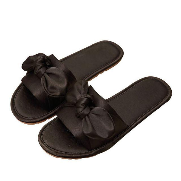 New Summer Women Slippers Butterfly-knot Ladies Fashion Casual Slippers Female Flat with Women Solid Silk Women Slippers