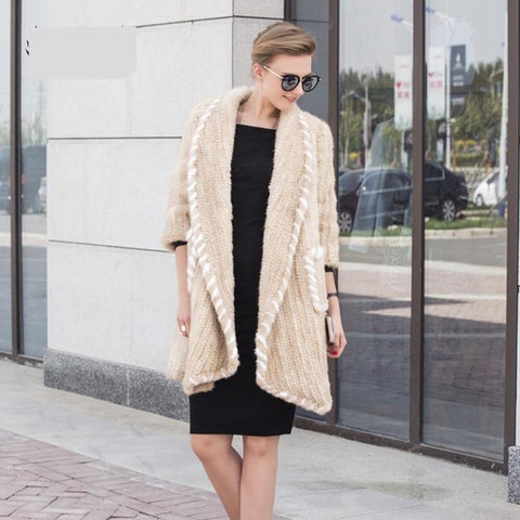 New Genuine Knitted Mink Fur Coat Mink Fur Vest Warm Winter Fur Coat With Turn Down Collar Real Fur Coat BF-C0515