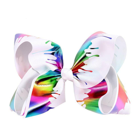 "8"" Jumbo Cartoon Rainbow Hair Bow With Alligator Clip For Kids Colorful Printed Ribbon HairBows Kids Hair Accessories"