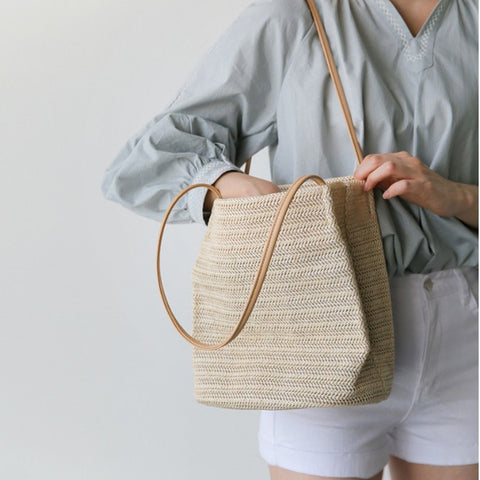 women straw bucket shoulder bag summer ins popular lady knitted handbag BOHO national style bag Hippie Gypsy Tote Bags