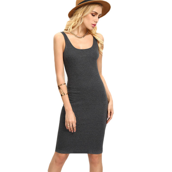 Ladies Summer Style Fitness Women Sexy Bodycon Knee Length Dresses Casual New Sleeveless Dress