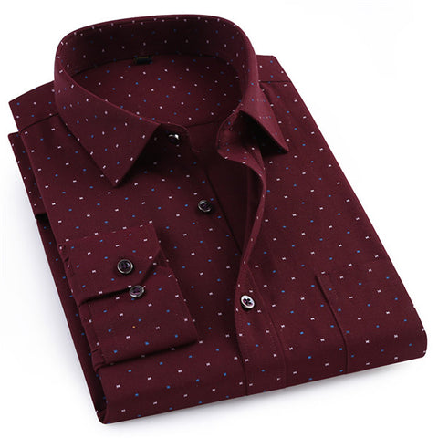 New Brand Men Shirt Spring Fashion Full Mens Oxford Polka Dot Button Down Collar Slim Fit Casual Shirts Big Size M705