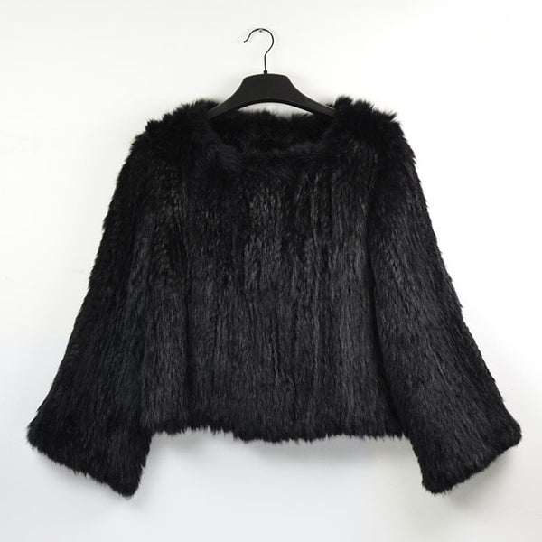 women's real rabbit fur knit coatnew girl's winter warm coats jackets sweater plus size black pink