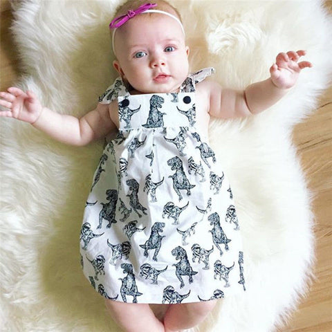 Newborn Baby Girls Cartoon Dinosaur Printing Sleeveless Mini Dress For Baby Girls Clothes Outfits Sundress Summer Clothes