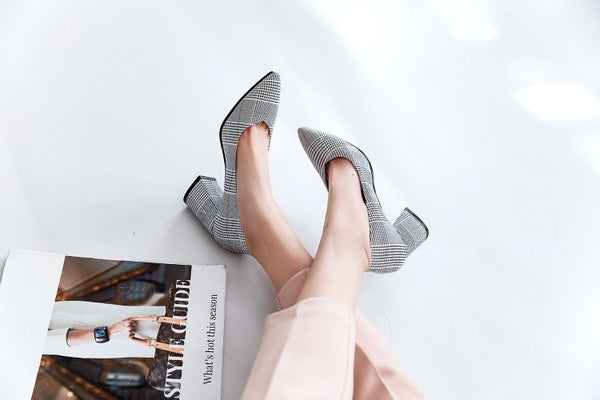 checked plaid pointed toe office career woman pumps stiletto dress shoes high heels shoes ladies plus size 45 46