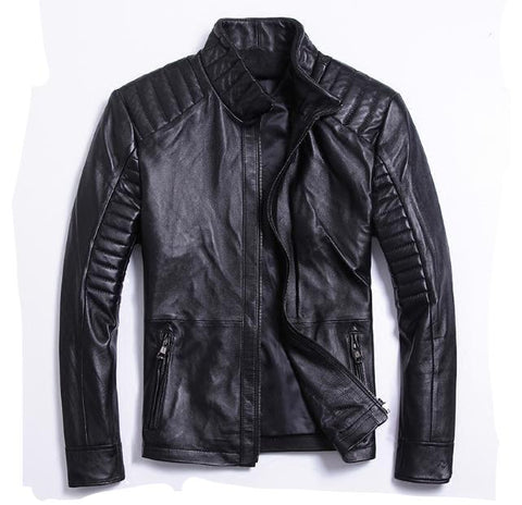 Free shipping.classic style,Plus size soft sheepskin leather Jacket, men's genuine Leather jacket.biker's slim coat,man sales