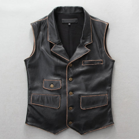 Genuine leather mens safari style vest.brown casual mens vests,vintage leather jacket Brand sales 2018
