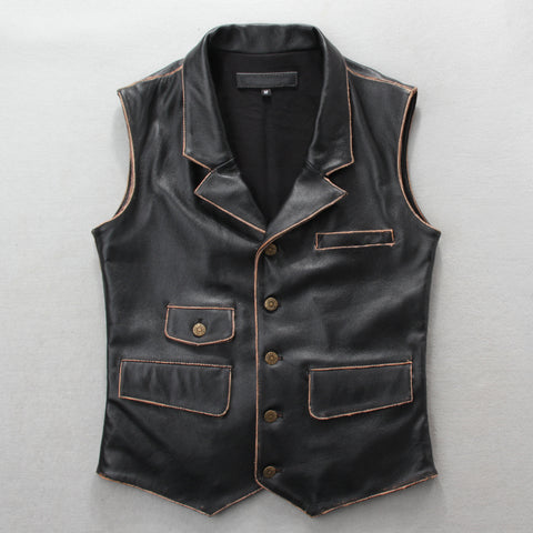 Free shipping,100% Genuine leather mens safari style vest.brown casual mens vests,vintage leather jacket Brand sales 2018