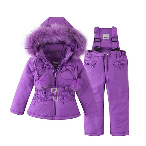 Outdoor Ski Set for Baby Girl Winter Warm Snow Suit Waterproof Windproof Hooded Jacket Faux Fur with Ski-pants