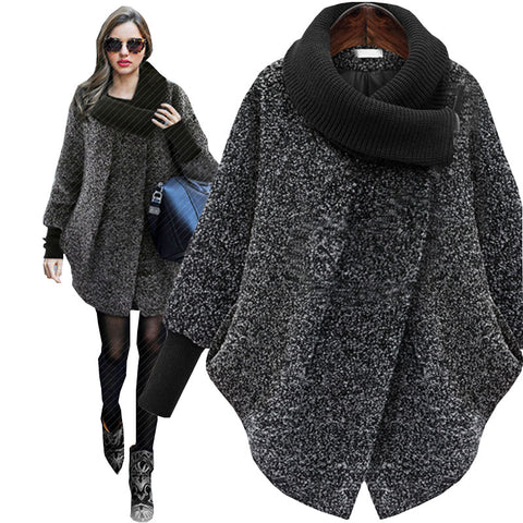Knitted Turtleneck Plus size Autumn Winter Wool Coat Women Woollen New Thick Cashmere femala jacket manteau femme hiver 6xl