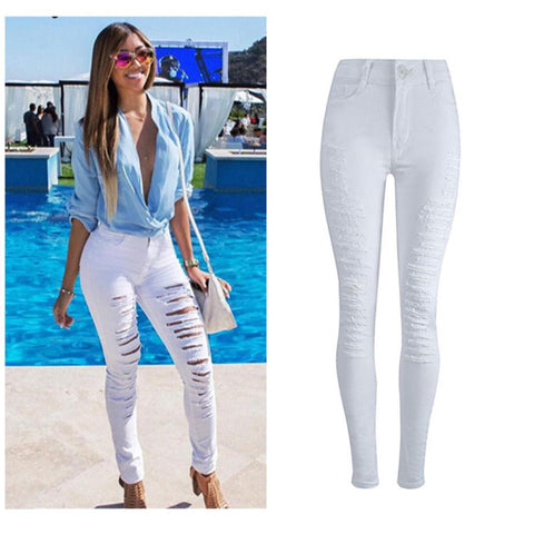 Fashion Women Sexy Ripped Denim Jeans Skinny Hole Pants  Stretch Daily Jeans Slim High Waist Pencil Trousers White F80