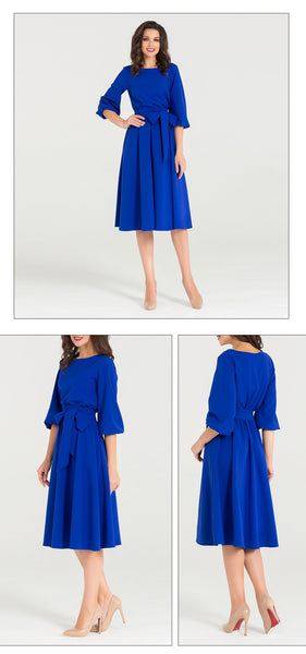 New Spring autumn Dress O-Neck three quarter sleeve elegant party vestidos Women vintage dress soild color no pocket