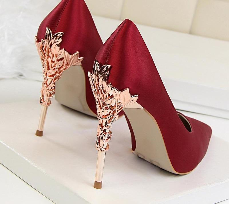 Shoes Heel Metal 10cm Elegant Wedding Pumps Carved Heels Women Solid Famale High Fashion lFK1Jc