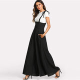 Black Straps Office Ladies Workwear Elegant Wide Leg Jumpsuit High Waist Plain Knot Loose Women Autumn Jumpsuit