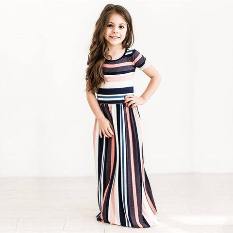 Girls Summer Fashion Maxi Dress Rainbow Stripe Beach Dress Baby Girl Summer Clothes Princess Dresses For Party