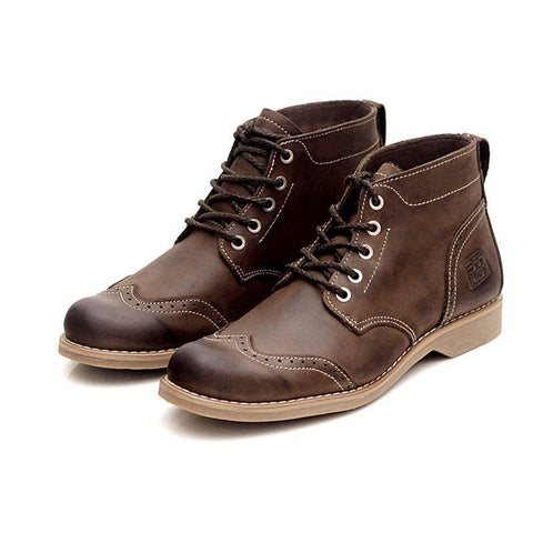 Retro Brogue Knight Boots For Men Breathable Genuine Leather British Ankle Boots Lace Up Casual High Top Safety Zapatos Hombre
