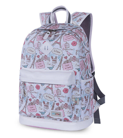 New Fashion Teenage Women Canvas Backpack High Quality Eiffel Tower Flowers Printing Casual School Girl Bag mochila