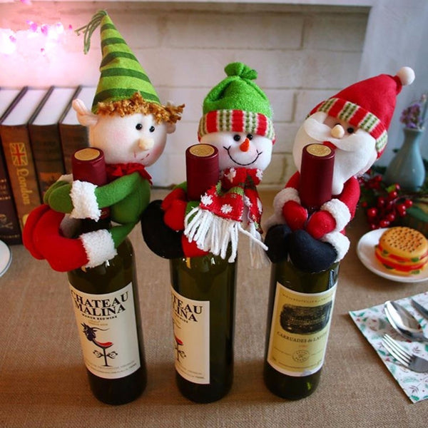 Red Wine Bottle Cover Santa Claus Snowman Home Christmas Decoration Lovely Navidad Christmas Ornaments Wine Bottles Hold Covers
