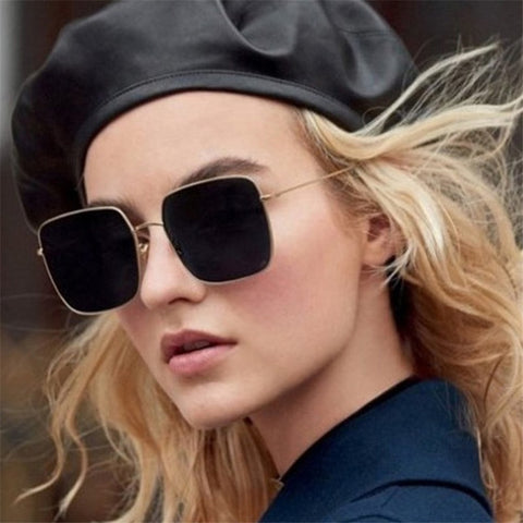 NEW square frame vintage sunglasses Women Oversized Big Size Sun Glasses for Men Female Shades Black UV400 Eyewear