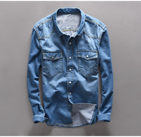 Autumn 100% Cotton Shirt Men brand jeans shirt men long slim Brand clothing men clothes denim shirt men solid camisa masculina