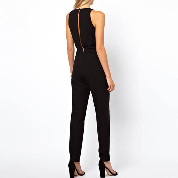 Summer Women Sleeveless Jumpsuit Casual Solid Bodysuit Crew Neck Long Playsuits Jumpsuits H9