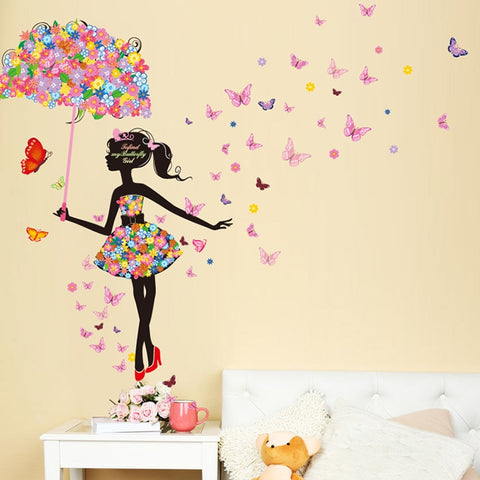 Fairy Girl Wall Stickers Vinyl DIY Butterflies Wall Art for Kids Rooms Kindergarten Dormitory Decoration Child Gift