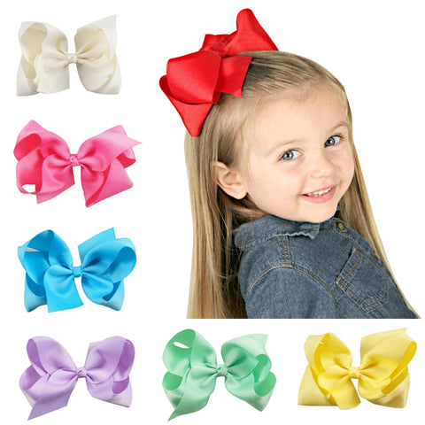 6 Inch Solid Grosgrain Ribbon Hairbows Sweet Girls Hair Bow Boutique Handmade Hairgrips For Kids Boutique Hair Accessories