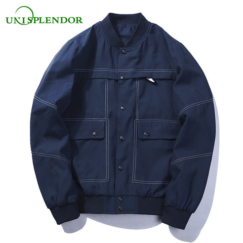 Unisplendor 2018 Spring Autumn Men Cargo Jackets More Pockets Cool Boy Bomber Jacket Man Street Style Male Pilot Coat Solid YY39