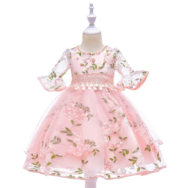 597ed7b225d JOHNKART.COM.  27.65 USD. Pearl embroidery Kids Girls Flower Dress Baby  Girl Birthday Party ...