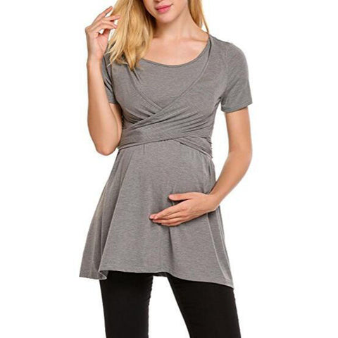 Summer Women Fashion short Sleeve Tops Long T-Shirt Maternity Nursing Breastfeeding Clothes Feeding For Pregnant Women Wear