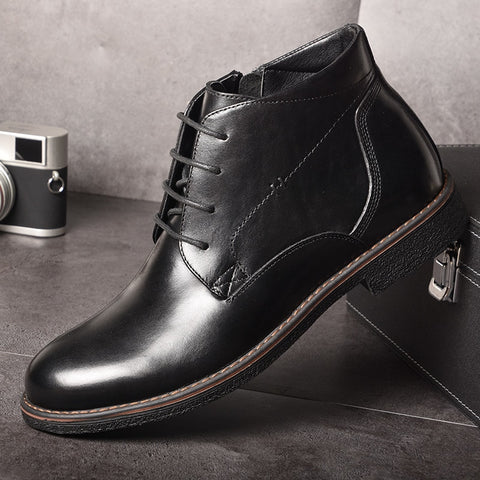 Business Casual Boots Genuine Leather Men Shoes Fashion Male Shoes Winter Ankle Boots Male Boots Winter Men Shoes