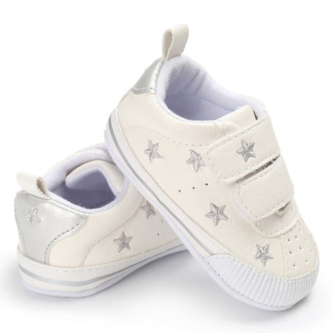 new infantil Kids Material Fashion Toddler Shoes Star Pattern Baby Cute Lace-up Star Sports Shoes 0-18M First Walkers